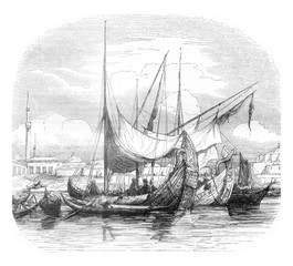 Caravels and other vessels structures, vintage engraving.