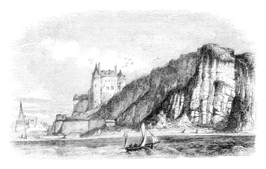 View of the castle of Dieppe Seine Bottom, vintage engraving.