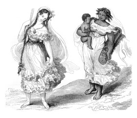 Costume women in Panama, vintage engraving.