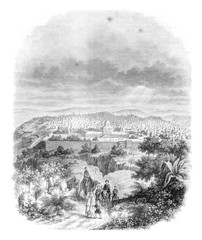 View of Jerusalem, vintage engraving.