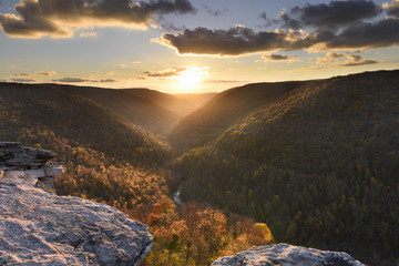 Wall Mural - View of Valley in Autumn from Rocky Cliff