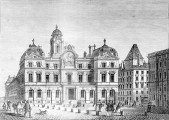 City Hall of Lyon, vintage engraving.