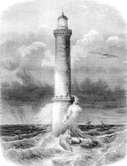 Lighthouse Brehat, near Treguier, department of North Cotes, vin