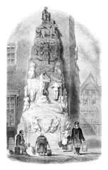 Fountain of Lisieux hotel in Rouen, vintage engraving.