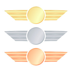 set of vector medals with wings of gold silver and bronze