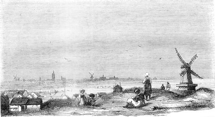 Distant View of The Hague, vintage engraving.