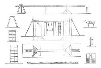 1. Mat, 2. Portico, 3. Plan gantry, 4. Tree Trunk, 5. Platform,