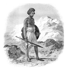 A warrior of the tribe of Zababdeh, vintage engraving.