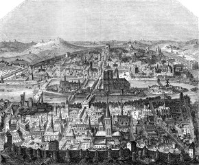 View of Paris, after a print of the late sixteenth century, vint