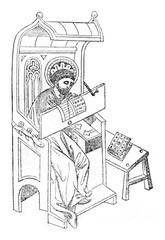 A writer in the fourteenth century, vintage engraving.