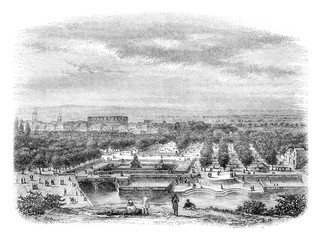 View of the city of Nimes, taken from the Garden of the Baths of