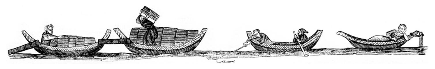 Wooden boats, Parisian boats, vintage engraving.