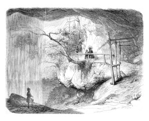 A view of the waterfall Giessbach, vintage engraving.