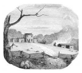 American farm in the state of Kentucky, vintage engraving.