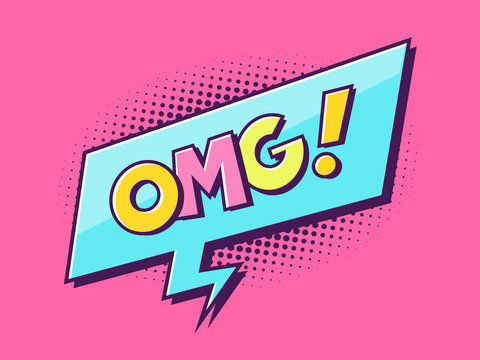 Oh my god - OMG - comic text word in retro technicolor style vector illustration
