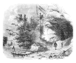 The Toviere or Grotte du Doubs, vintage engraving.