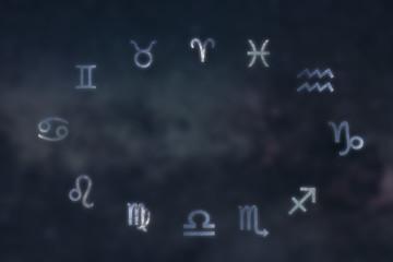 Zodiac constellations Cancer, Pisces, Aquarius, Capricorn, Sagittarius, Scorpio, Libra, Virgo, Leo, Gemini, Taurus, Aries. Galaxy background