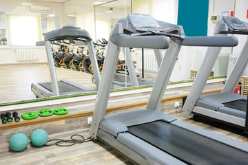 The image of treadmills in fitness hall