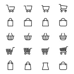 Shopping baskets and store bags line icons isolated on white. Vector illustration