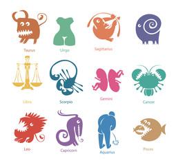 vector set of funny color zodiac signs
