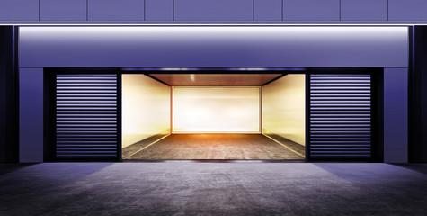 modern empty garage at night