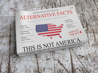 US Politics News Concept: Pile of Newspapers Alternative Facts On Scratched Old Wood, 3d illustration
