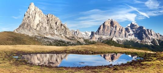 View from passo Giau, mountain lake, Dolomites mountains