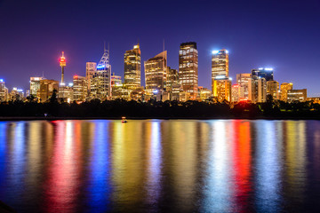 mirrored Sydney Skyline in the water after sunset , Australia