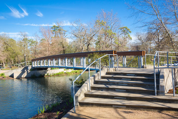 Houston Hermann park conservancy Mcgovern lake in winter Texas