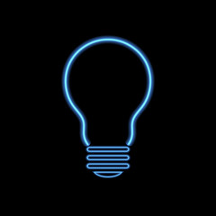 Neon lamp on a black background. Vector illustration .