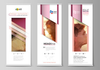 Roll up banner stands, abstract geometric design templates, corporate vertical vector flyers, flag layouts. Romantic couple kissing. Beautiful background. Geometrical pattern in triangular style.
