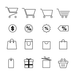 shopping and festival line icon set