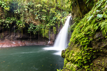 "waterfall ""Saut de la Lézarde"" in Guadeloupe"