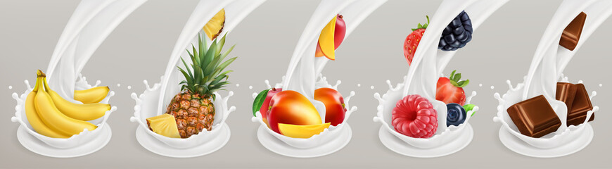Fruit, berries and yogurt. Realistic illustration. 3d vector icon set 3