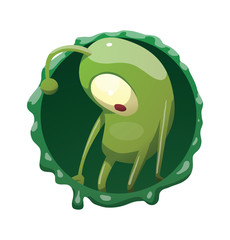 Vector round dark green frame with mucus and with cartoon image of funny green microbe with one large eye, with an antenna, with arms and legs, standing sad on a white background.