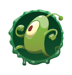 Vector round dark green frame with mucus and with cartoon image of funny green microbe with one large eye, with an antenna, with arms and legs, running somewhere on a white background.