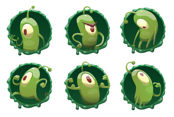 Vector set of round dark green frames with mucus and with cartoon images of funny green microbes with one big eye, with an antenna, with arms and legs, in different actions on a white background.
