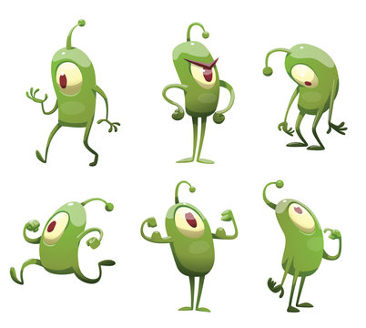 Vector set of cartoon images of funny green microbes with one big eye, with an antenna, with arms and legs, in different actions on a white background. Positive character. Creature.
