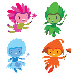 Vector set of cartoon images of cute fairies of the seasons: spring, summer, autumn and winter, flying and smiling with a magic wands in their hands on a white background. Made in a flat style.