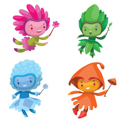 Vector set of cartoon images of cute fairies of the seasons: spring, summer, autumn and winter, with magic wands in their hands on a white background. Vector illustration with shadows and highlights.