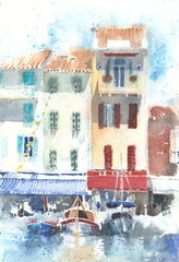Landscape urbanscape Cassis France watercolor painting handmade