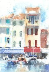 Landscape urbanscape Cassis France watercolor painting handmade