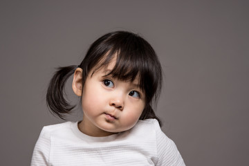 Studio portrait shot of 3-year-old Asian baby - isolated