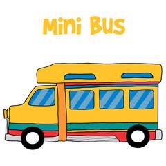 Cartoon mini bus collection stock