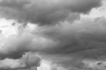 Storm sky, thunderclouds over horizon.