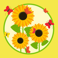 Illustration of sunflowers surrounded by butterflies with circle background