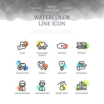 Silver Industry Watercolor Line Icon Set