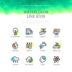 Eco Watercolor Line Icon Set