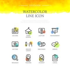 Education Watercolor Line Icon Set