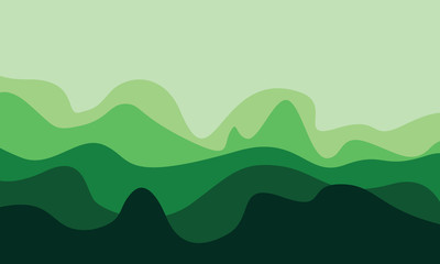 abstract forest green mountains waves background